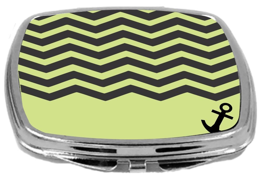 3D Chevron Red On White with Anchor Rikki Knight Compact Mirror