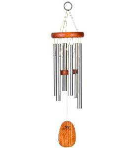 Small Musical Anodized Aluminum And Ash Amazing Grace Wind Chime With Ash Wood Disk And Wind Catcher