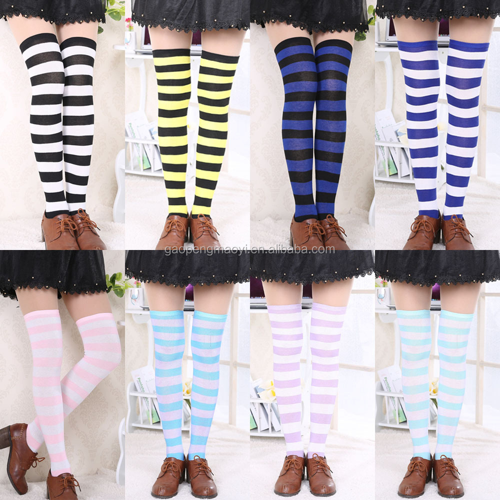 c6d3572c944 Hot New Sexy Women Girl Striped Cotton Over the Knee Socks Fashion Stockings  For Dating Cosplay
