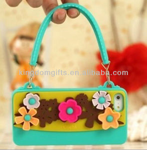 Flowers Silicone Phone Case with Strap