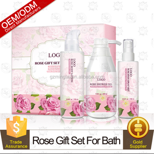 natural rosewater body wash, body lotion and spray mist gift set for bath spa