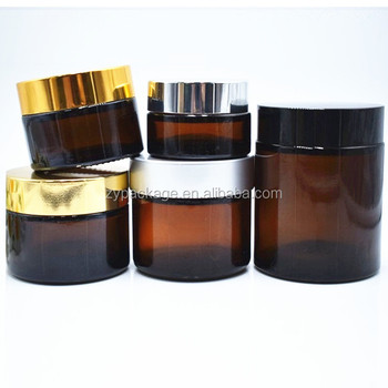 20g 30g 50g 100g amber glass cream cosmetic jars with black lid lip balm container glass jar 20ml 30ml 50ml 100ml