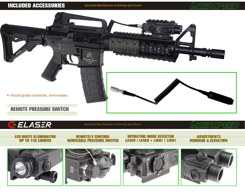M4 Rifle Tactical Led Light Plus Military Green Laser Sight Combo ...