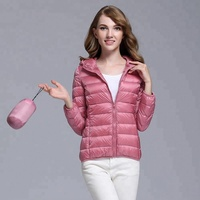 Colorful Women Hooded Ultra Light Down Jacket