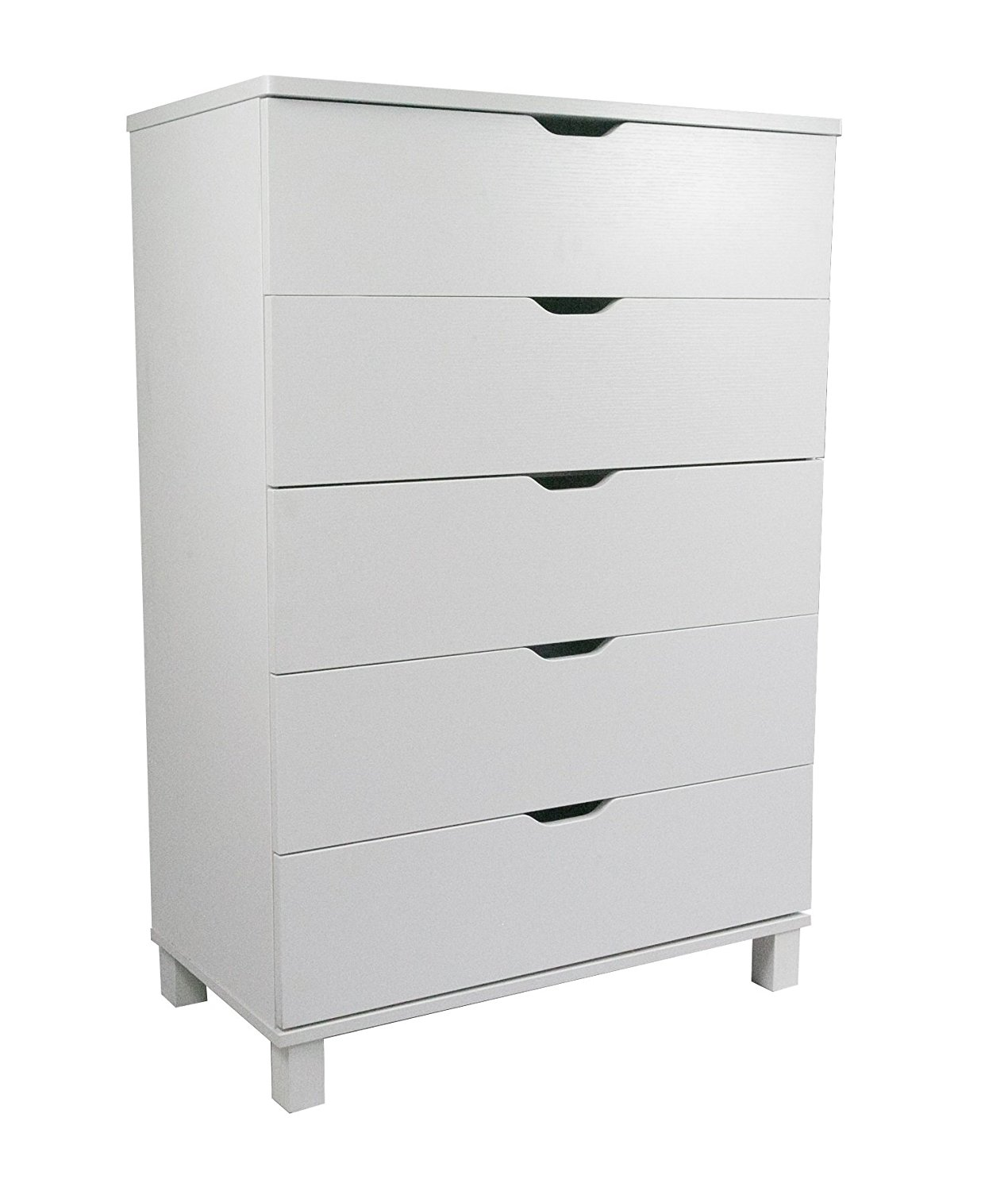 Y1106 Smart Home Attwell Modern Bedroom Furniture (One Size, White 5 Drawer Chest)