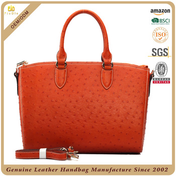 S484 A2397 Orange Ostrich Pattern Cow Leather Bags Women Brand Name Handbags