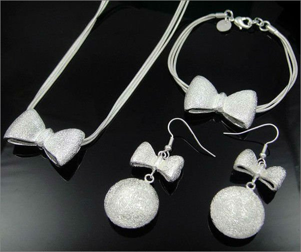 925 Sterling Silver Bowknot Necklace Bracelet & Earring 3Pcs Jewelry Set
