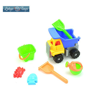 Shantou high quality dump truck 1 set 7 pcs seaside summer play tools beach toys for kids