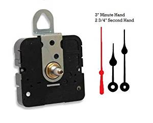 """Takane Quartz Clock Movement Mechanism With 3"""" Black Spade Hands and Red Second Hand, U.S.A. Made (9/16"""" threaded shaft for dials up to 3/8"""" thick)"""