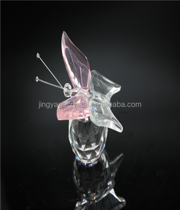 Delicate pink crystal butterfly with clear ball as engagement return gift