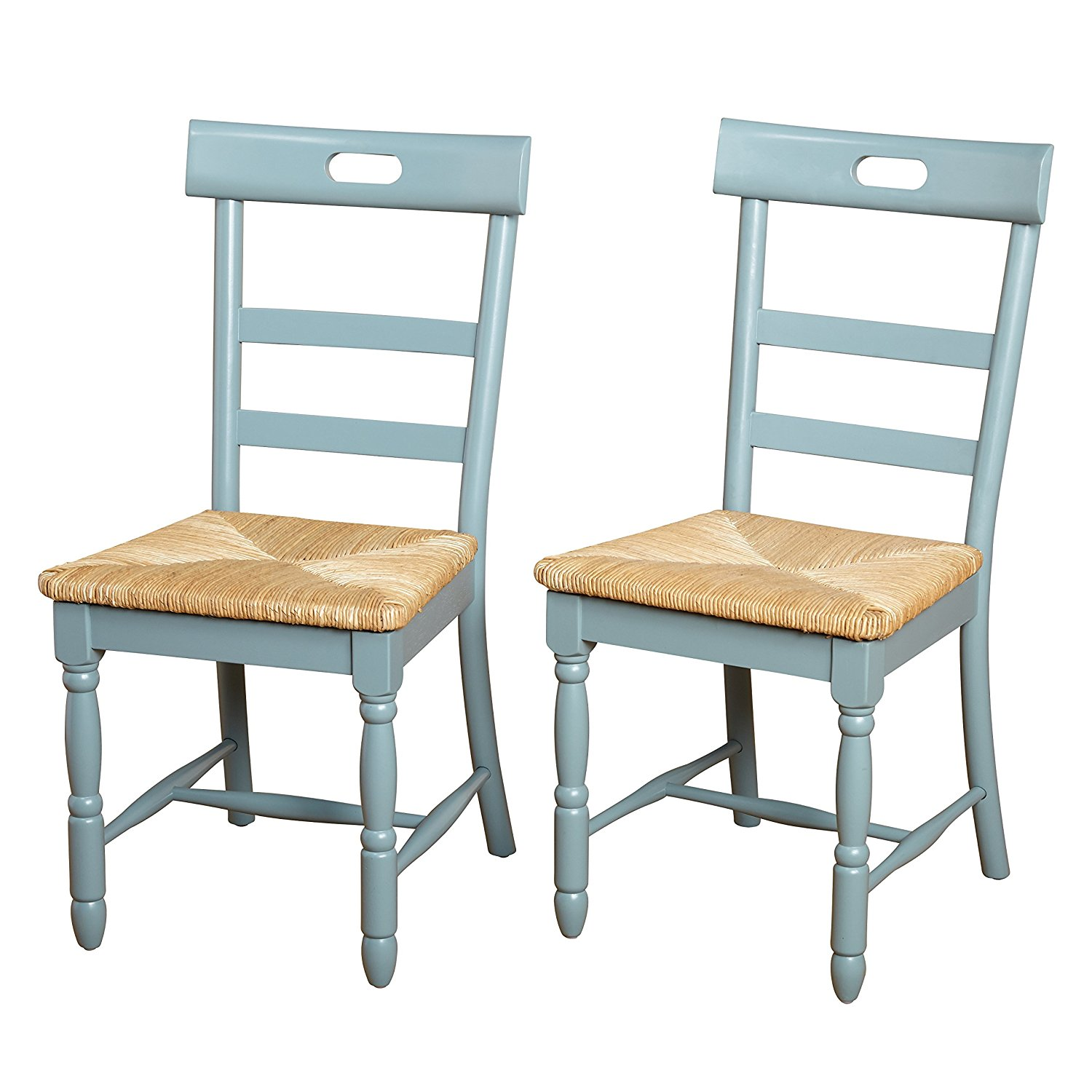 Target Marketing Systems Briana Series Contemporary Country Style Woven Wooden Crafted Dining Chairs, Blue, Set of 2