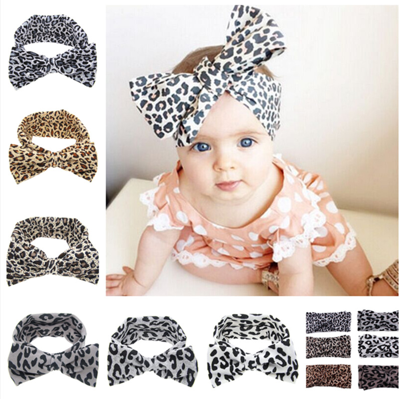 Baby Girls leopard print Bow Headband Turban Headwrap Infant Top Knot  Headband Girls Hair accessories 17ca7a613f1