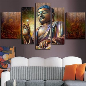 Printed Digital Buddha Oil Painting 5 Panels Dropship Canvas Wall Art Prints Modern Home Decoration