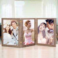 High quality home decoration 3 combination folding picture frame table stand wooden picture frame photo frame