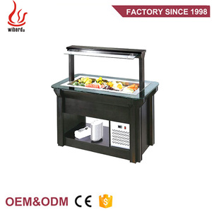 Wiberda sliding door freezer restaurant buffet stainless steel counter refrigerator salad bar equipment