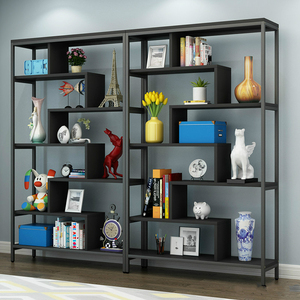Creative home used stainless steel frame wooden collection storage bookcase