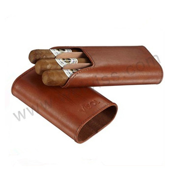 Brown Leather Bonded Cigar Case with Cigar Cutter for a real men