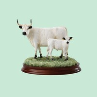 Resin Novelty White Park Cow and Calf Border Fine Arts