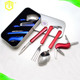 Travel flatware set 4 piece multifunctional stainless steel knife spoon fork set
