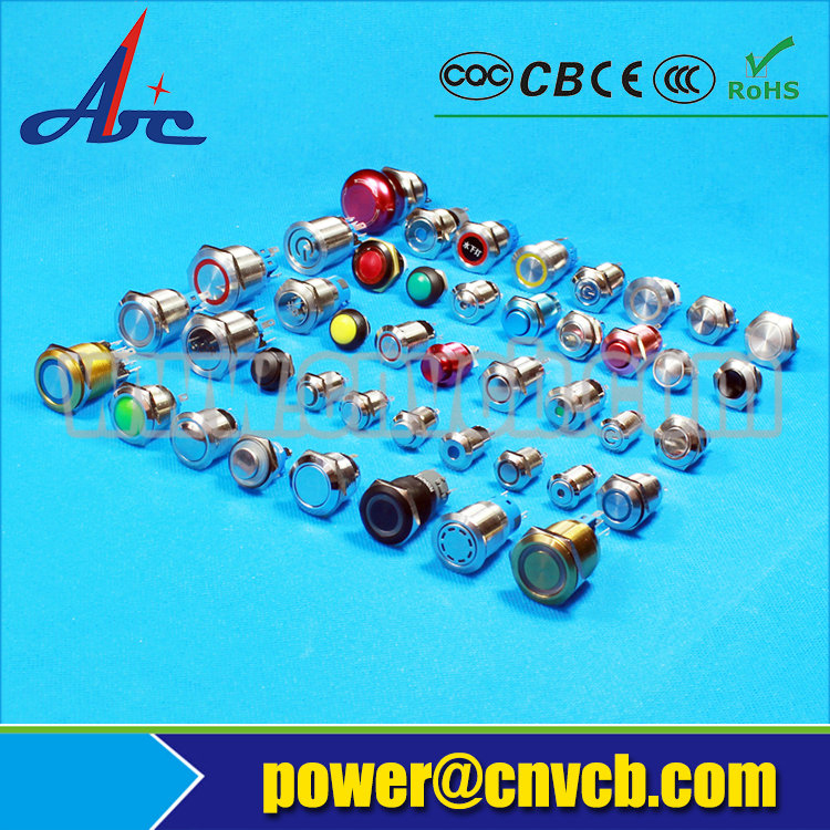 1642Z 16mm Flat round latching Customized logo shining IP67 pushbutton switch