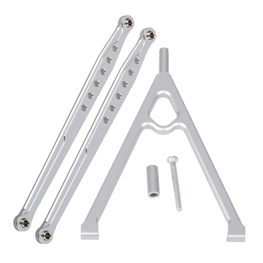 Mxfans Silver Aluminum Alloy Rear Chassis Linkage Y-Link + Rear Suspension Rod Linkage Upgrade Parts for AXIAL SCX10 RC1:10 Off Road Car Set of 3
