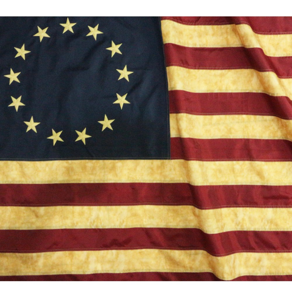 107761b605fa ... Ross Flag 3x5 Foot Nylon - Embroidered Stars and Sewn Stripes - 4 Rows  of Lock Stitching - Antiqued Early USA Banner Flags with Brass Grommets 3 X  5 Ft