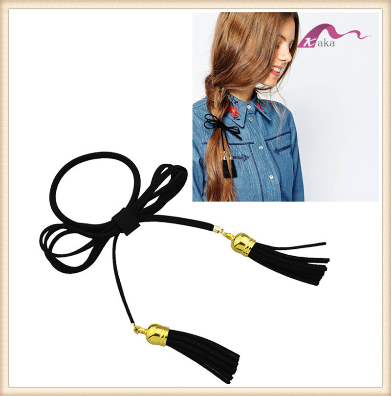 Fashion women leather hair elastic band ponytail with tassel for girl long hair