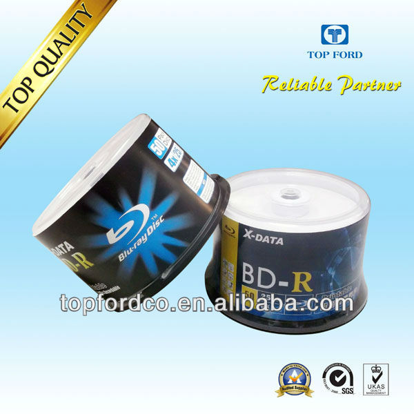 25GB 6X Blu-ray Single-Layer Recordable Disc BD-R White Inkjet Printable - 50 Discs Cake Box