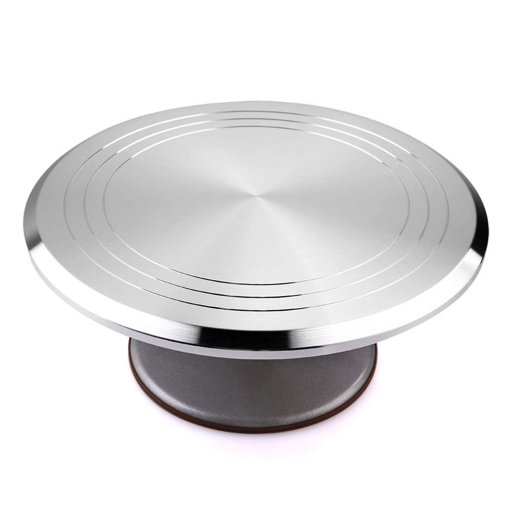 "HMhome Rotating Revolving Cake Turntable Aluminium Alloy 12"" Decorating Cake Stand Baking Kitchen Cooking Tools"
