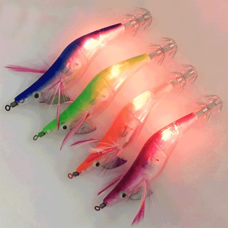 YOUME LED Electronic Luminous Shrimp Squid 10cm 12.99g Night Fishing Squid Jigs Lure Bass Bait Fish Tackle Equipment Accessory, 5 colors
