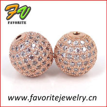 round rose gold copper alloy pave setting jewelry charm beads