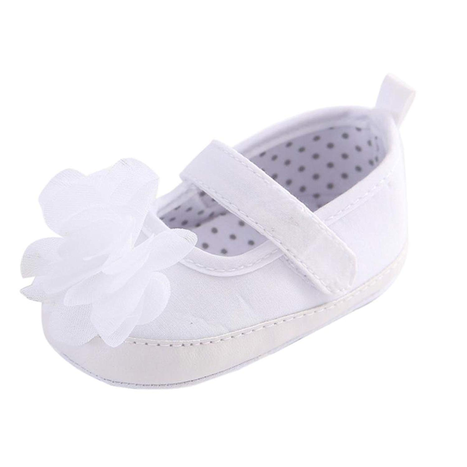 1aa3629fe3405 Get Quotations · WARMSHOP Baby White Shoes Girl Toddler Flower Soft Sole  Anti-Slip Baby Jean Sneakers