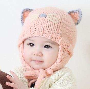 556f7966 Knitted Baby Kids Animal Cat Cartoon Cute Ear Flap Beanie Hats For Boys  Girls/cute