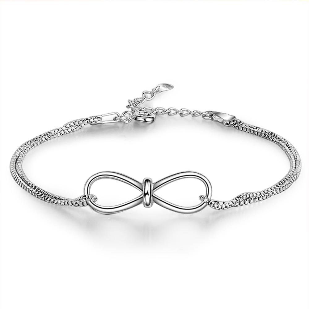 f0d49f462f90b5 925 Sterling Silver Bracelet Fashion Jewelry Infinity Charm Bracelets  Bangles For Women Wedding Party Jewelry Gift