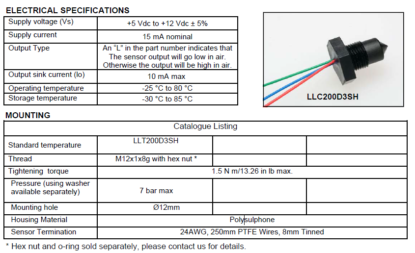Low cost Liquid Level Sensor for Single Point Detection LLC200D3SH