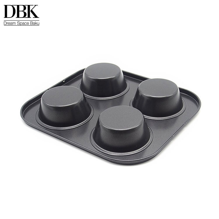 High quality Carbon steel Black Mini Tart Pie Pan baking tray mould bakert pan Non stick 4 Cups Cupcake Mold Muffin Pan