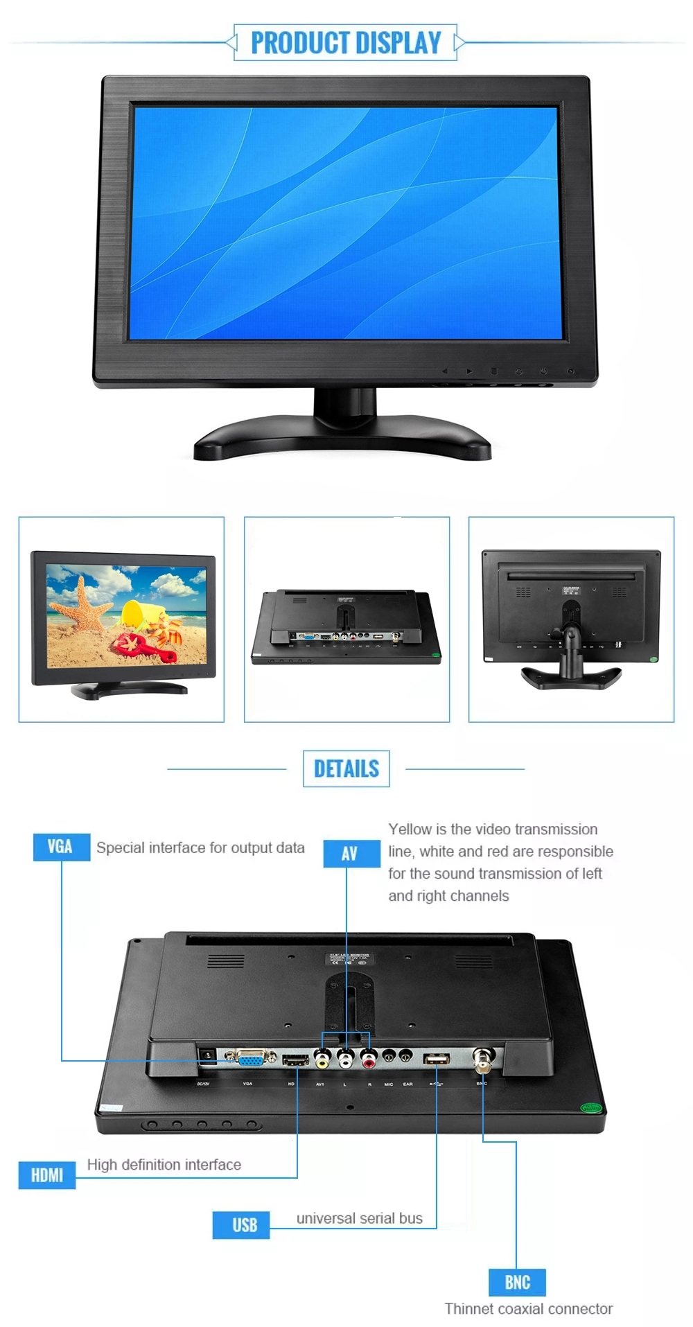 Widescreen 12 inch 11.6 inch cheap lcd monitor with hd mi