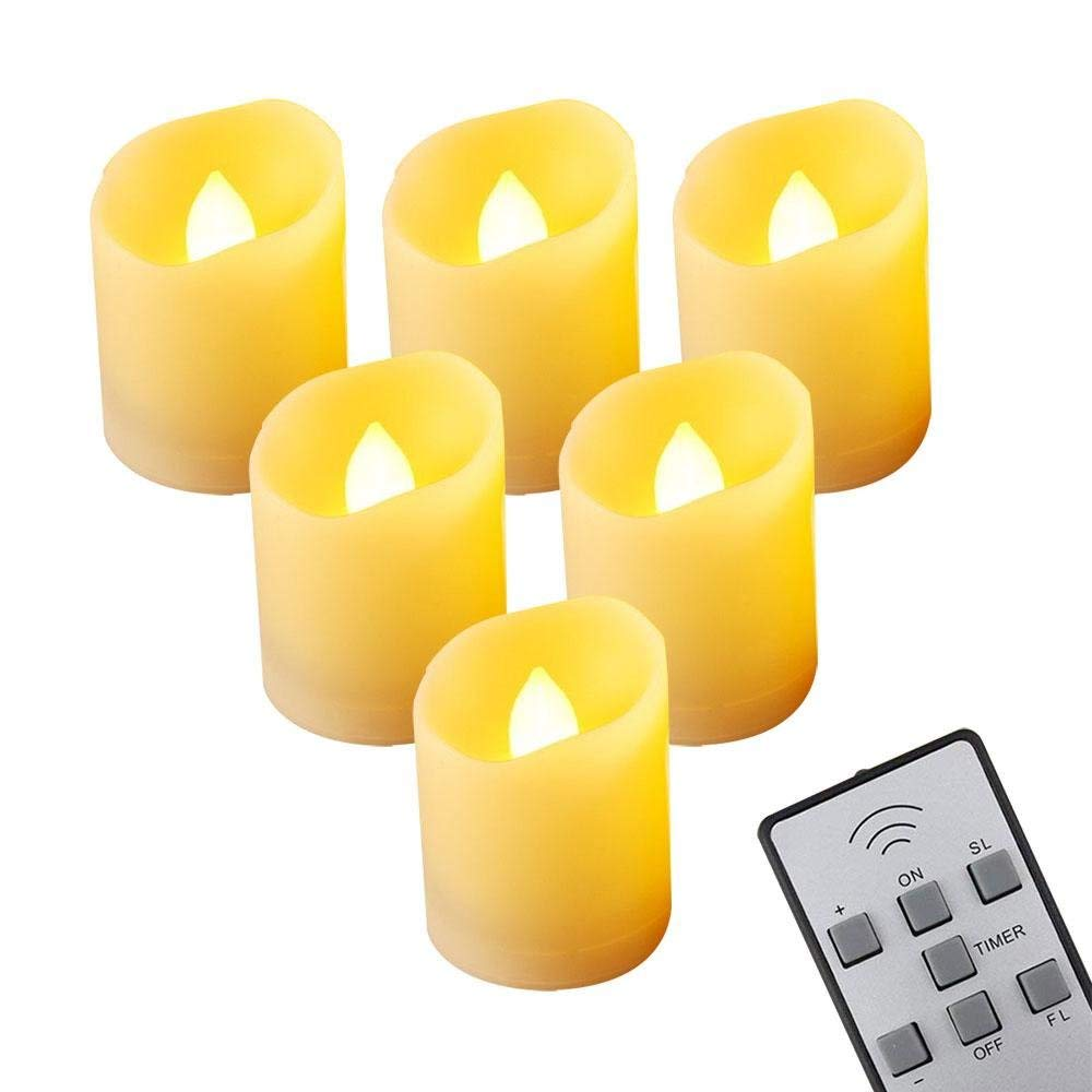 bed2d34563 Get Quotations · Teepao Fireless Tealight Candles 6 Pieces Remote Control  Fake Candles Electronic Flameless Tealight Candles Warm White