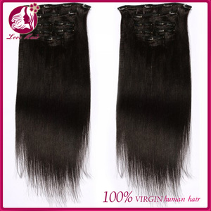 wholesale accept Trader Assurance virgin indian italian yaki 100 human hair clip in hair extensions for black women
