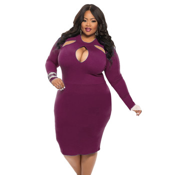 2018 African Fashion fat women long sleeves hot party sexy midi big size hollow cut cheap club dress