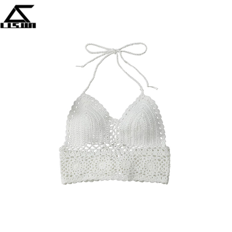 Mujeres Crochet Knit Bikini sujetador Crop Top