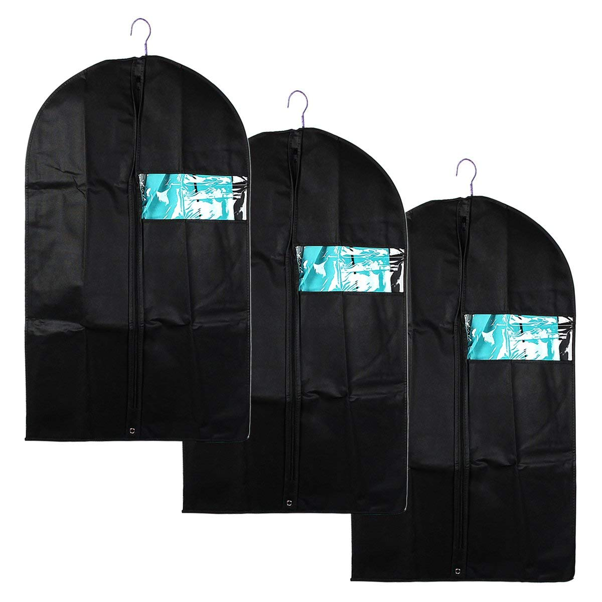 xhorizon TM FL1 Set of 3 Garment Bags (40inches) - Breathable Garment Bag Covers for Suit Carriers,Dresses,Linens,Storage or Travel - Suit Bag with Clear Window (Black)