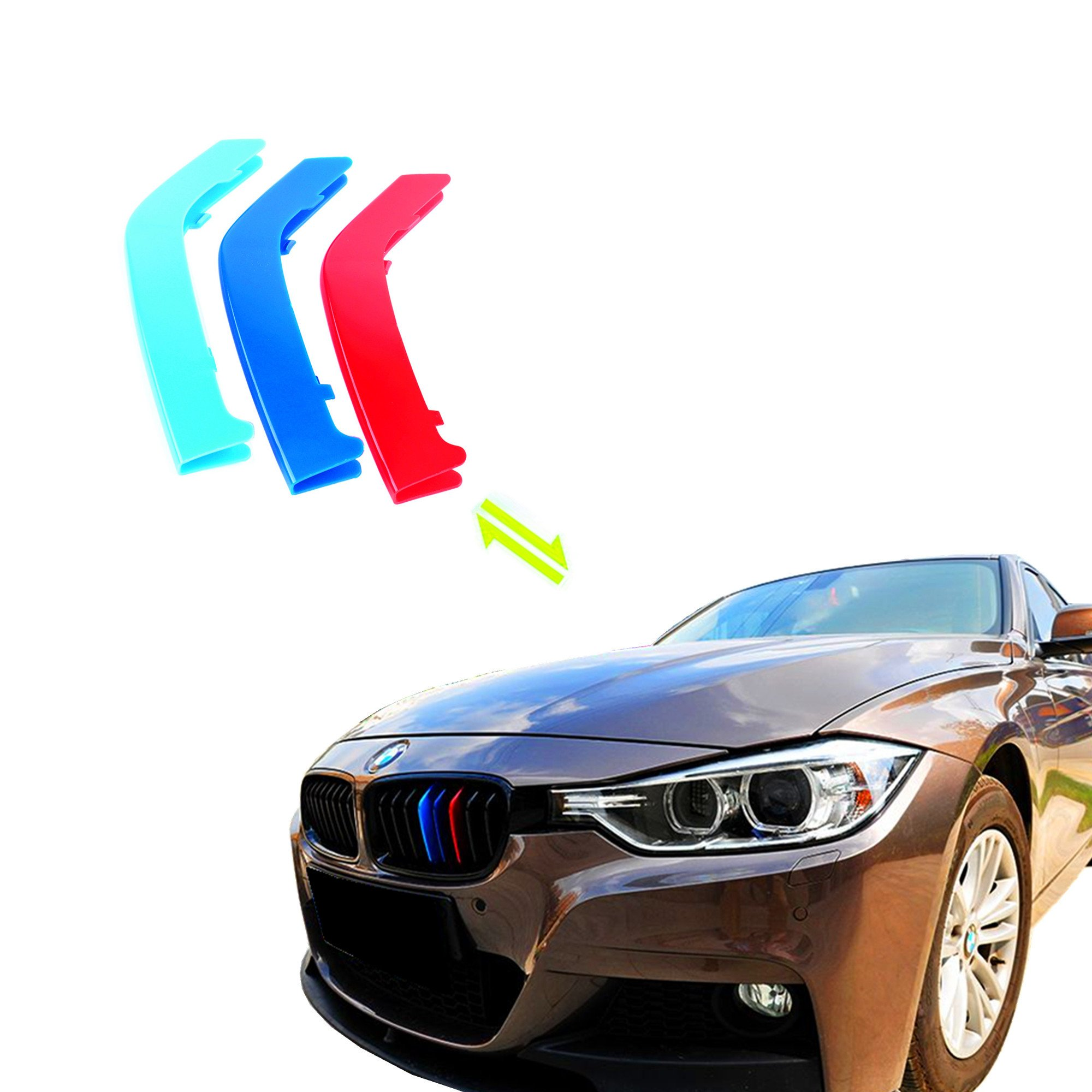 Jackey Awesome Exact Fit///M-Colored Grille Insert Trims For 2013-2017 BMW F30 F31 3 Series 320i 328d 328i 335i M-Performance Black Kidney Grilles (For BMW 2013-2017 3 Series,8 Beams)