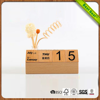 Wholesale Desktop Wooden Stand Decoration Wood Perpetual Calendar