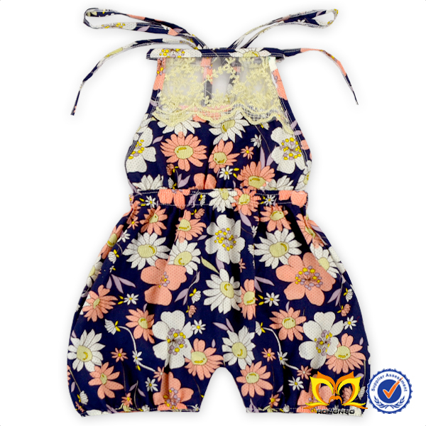 Girls Black Flower Lace Collar Rompers 2016 Cotton Kids Frock Jumpsuit New born Baby Clothes