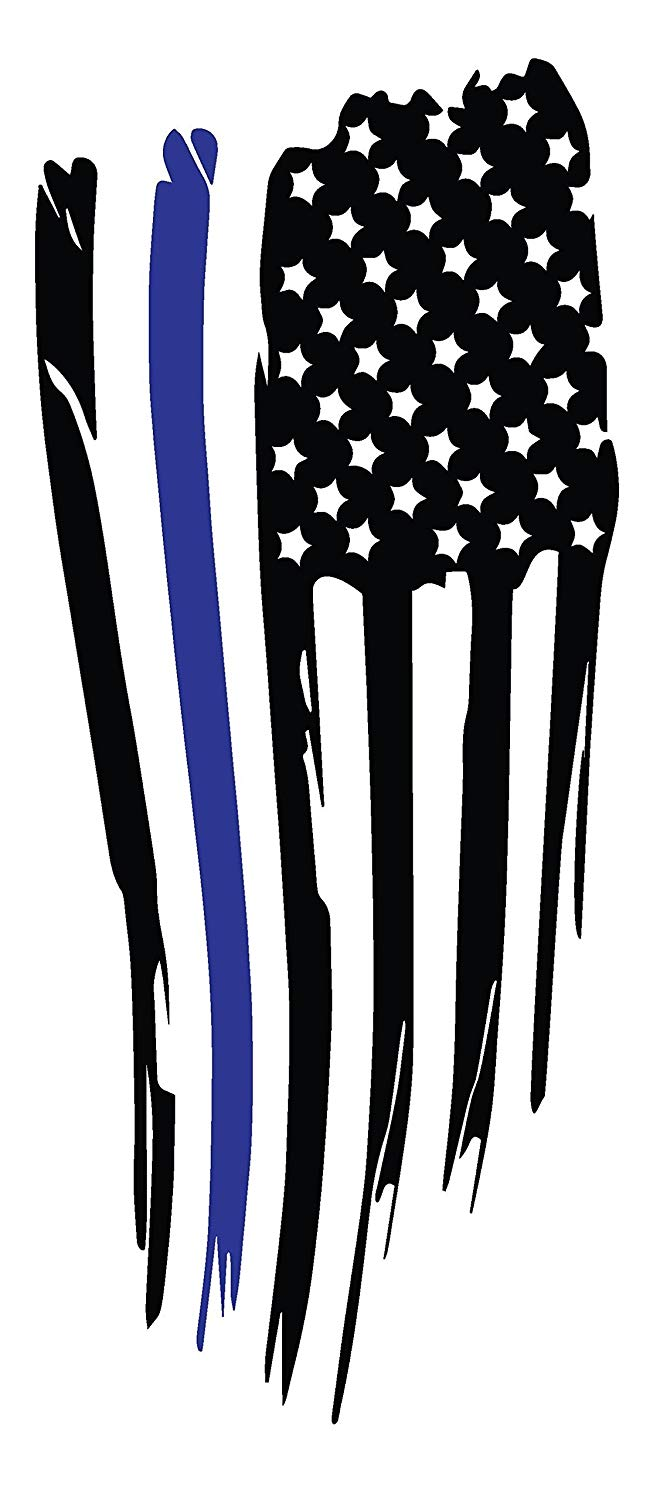 """Distressed USA Flag, with Blue Line""""Blue Lives Matter"""" Vinyl Graphic Decal Sticker for Vehicle Car Truck SUV Window Wall Laptop Cooler Outdoor Rated Vinyl"""