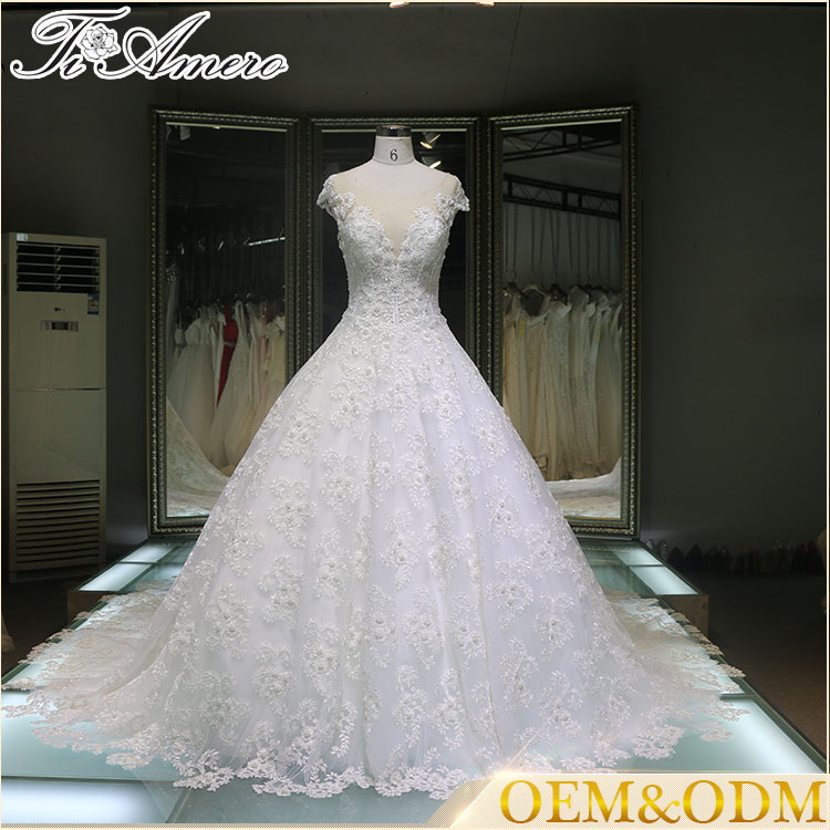 2017 Chins supplier sweetheart long lace cathedral loyal train wedding dress for bridal