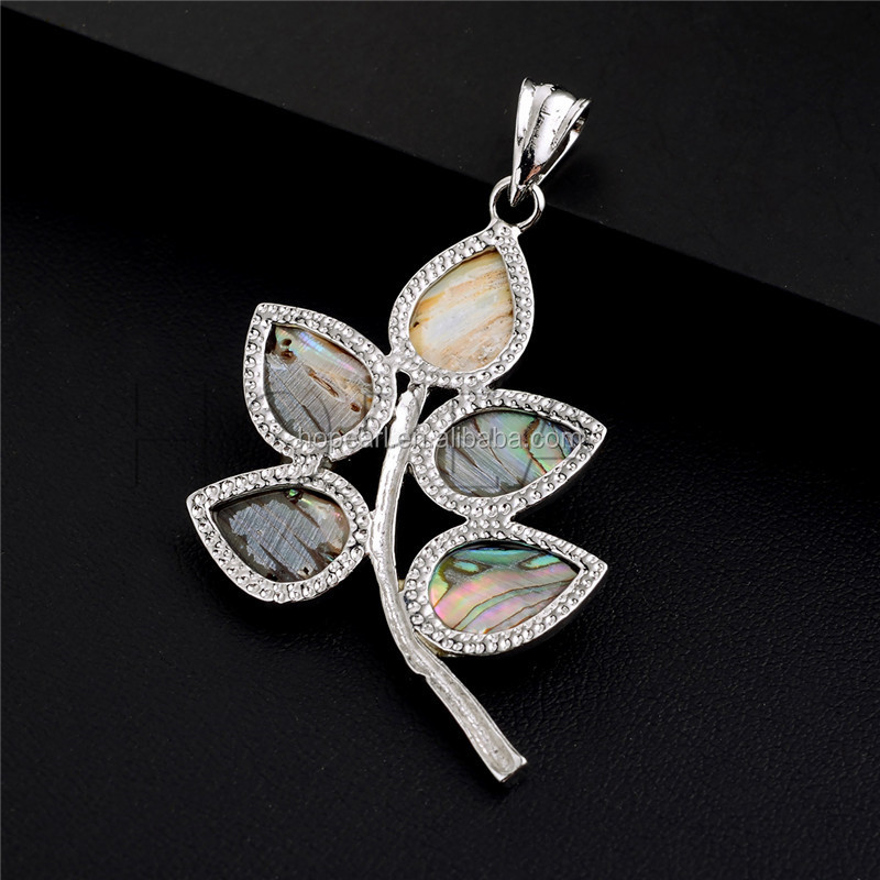 MOP134 Floral Shape Abalone Natural Sea Paua Shell Pendant Beach Inspired Jewelry
