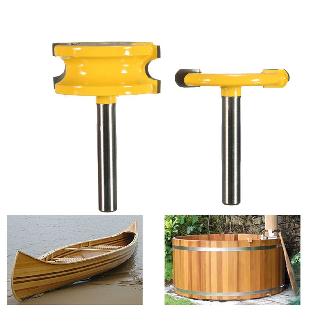 """Promisy 2Pcs Wood Router Bits 1/4"""" Shank For Arc Floor Joinery Router Bits For Woodworking Milling Cutter Bits 1/2"""" Shank"""
