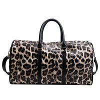 Ready To Ship Monogram Personalized Leopard Weekender Overnight Bags Leather Travel Duffel Bag